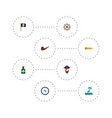 set piracy icons flat style symbols with flag vector image vector image