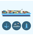 Set with anchor lighthouse and container ship vector image vector image