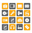 Silhouette Media and technology icons vector image vector image