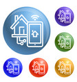 smart house control icons set vector image vector image
