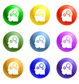 smart mind gear icons set vector image vector image