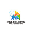 strong bull colorful design concept template vector image vector image