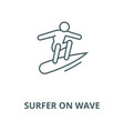 surfer on wave line icon linear concept vector image