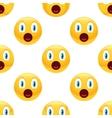 Surprised emoticon pattern vector image vector image