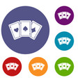 three aces playing cards icons set vector image vector image