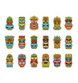 tiki masks tribal hawaii totem african vector image