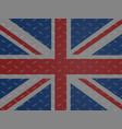 union jack flag over metallic diamond plate vector image vector image