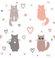 Valentine day background with cats and hearts