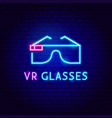 vr glasses neon label vector image vector image