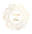 wedding invitation rose peony wreath golden shiny vector image vector image