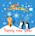winter postcard with a cat dog and penguins vector image