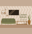 living room interior with sofa and tv set hanging vector image
