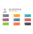 3d printing infographic 10 option line concept3d vector image vector image
