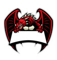 angry dragon mascot with blank signage for texr vector image vector image