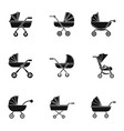baby carriage icon set simple style