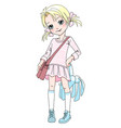 baby girl with bag and toy vector image vector image