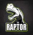 black and white dinosaur emblem on a dark vector image vector image
