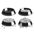 black and white pet food bowl silhouette set vector image vector image