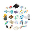 brand icons set isometric style vector image vector image