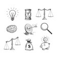 business concepts set light bulb hourglass vector image