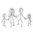 cartoon family man and woman and boy and girl vector image