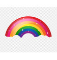 cartoon rainbow with stars and transparent vector image vector image