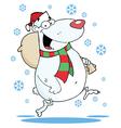 Christmas Bear Runs With Bag vector image vector image