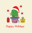 christmas card with fun cactus vector image vector image