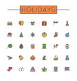 Colored Holidays Line Icons vector image vector image