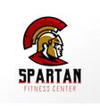 colorful logo badge emblem of spartan head vector image vector image
