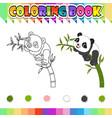 coloring book happy panda cartoon vector image vector image