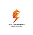 dragon thunder design concept template vector image