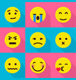 emotional icons set flat style vector image vector image