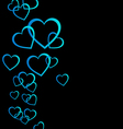 Floating blue hearts background vector image vector image