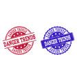 grunge scratched danger trends stamp seals vector image