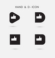 hand sign and d - letter icon abstract logo vector image vector image
