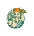 Hermes Holding Cadaceus Woodcut Linocut vector image vector image