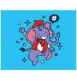 hipster elephant cartoon t shirt design vector image vector image