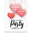 holiday party text and 3d hearts on white vector image vector image