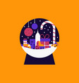 isolated christmas snow globe city concept vector image