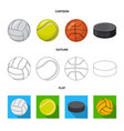 isolated object of sport and ball symbol set of vector image vector image