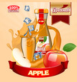 juice apple ads with logo and label realistic vector image vector image