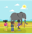 kids are visiting zoo vector image