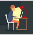 man freelancer at notebook concept background vector image vector image