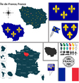 Map of Ile de France vector image vector image