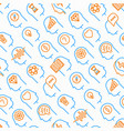 mind process seamless pattern with thin line icons vector image vector image