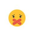 muted emoji censored freedom speech icon vector image
