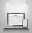 News tablet pc on shelves vector | Price: 3 Credits (USD $3)