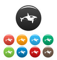 orca whale icons set color vector image