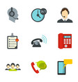 phone and call center icons set flat style vector image vector image